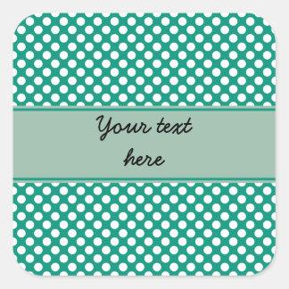 Monogram Emerald Green and White Polka Dot Pattern Square Sticker