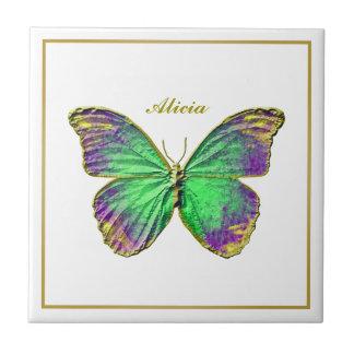 Monogram Emerald Purple Butterfly Ceramic Tile