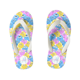 Monogram - Emoji Design Funny Pastel Faces Kid's Flip Flops