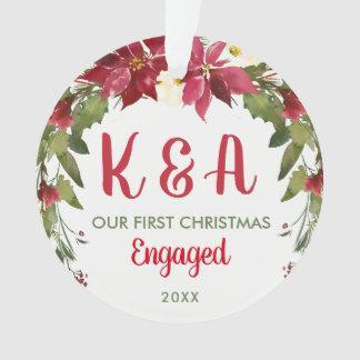 Monogram Engaged Wedding Couple Christmas Ornament