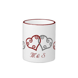Monogram engagement hearts mug