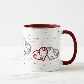 Monogram engagement hearts with sparkles mug