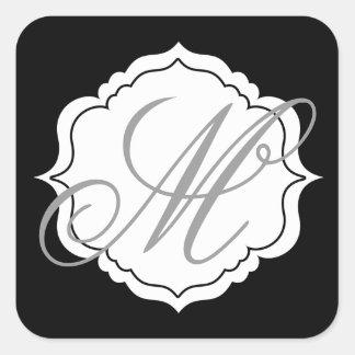 Monogram Envelope Seal Favour Stickers Black,
