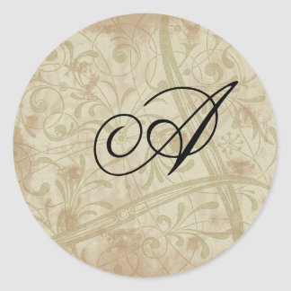 Monogram Envelope Seals Round Sticker