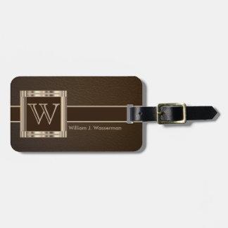 Monogram Executive Brown Leather Style Bag Tag