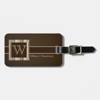 Monogram Executive Brown Leather Style Luggage Tag