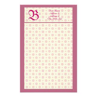 Monogram Eyelet Ecru & Pink Stationery