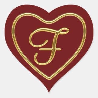 Monogram F in 3D gold Sticker