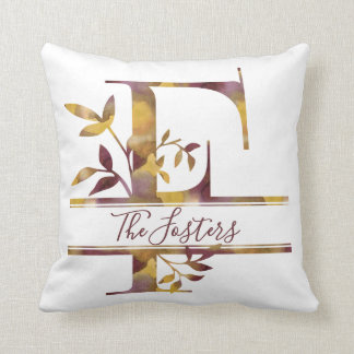Monogram F - Watercolor - Personalized Throw Pillow