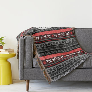 Monogram Fair Isle Reindeer Throw Blanket