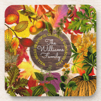 Monogram Fall Autumn Leaves Collage Vintage Wood Coaster