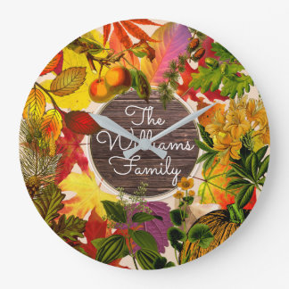 Monogram Fall Autumn Leaves Collage Vintage Wood Large Clock
