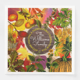 Monogram Fall Autumn Leaves Collage Vintage Wood Paper Napkins