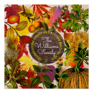 Monogram Fall Autumn Leaves Collage Vintage Wood Poster