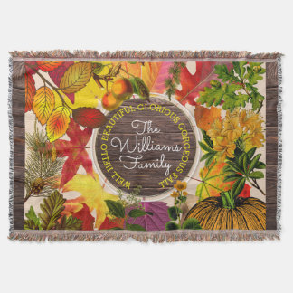 Monogram Fall Autumn Leaves Collage Vintage Wood Throw Blanket