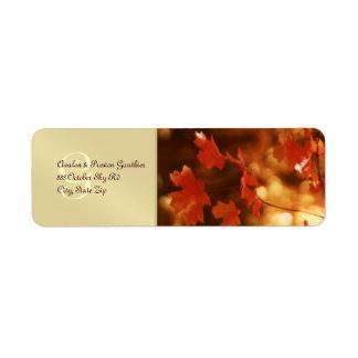 Monogram Fall Leaf Wedding Return Address Label