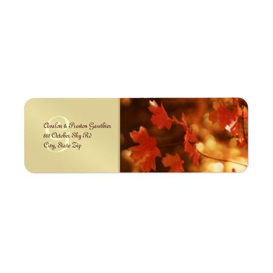Monogram Fall Leaf Wedding Return Address Label