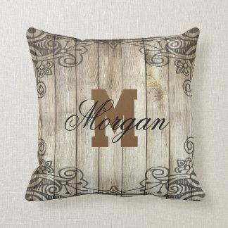 Monogram & Family Name Wood Grain with Scrolls - Throw Pillow