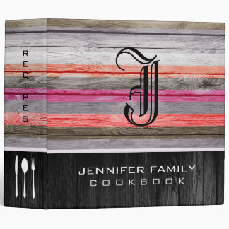 Monogram Family Recipes Wood Look #3 3 Ring Binders