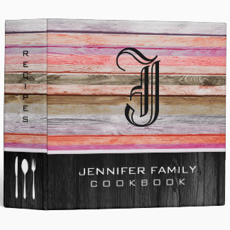 Monogram Family Recipes Wood Look #8 3 Ring Binder