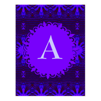 Monogram Fancy Dark Purple Blue Abstract Postcard
