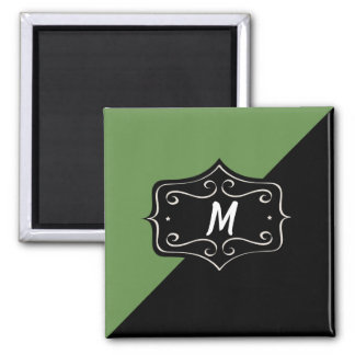 Monogram Fancy Green and Black Magnet
