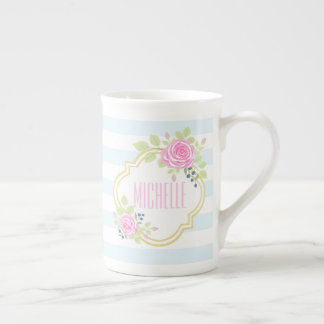 Monogram Fancy Pink Roses Blueberry Bone China Mug