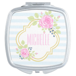 Monogram Fancy Pink Roses Blueberry Compact Mirror