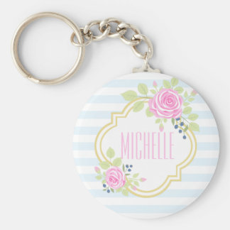 Monogram Fancy Pink Roses Blueberry Keychain