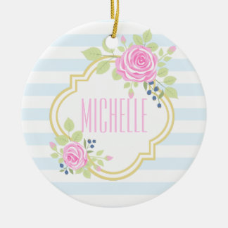 Monogram Fancy Pink Roses Blueberry Ornament