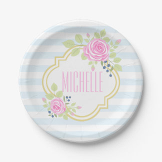 Monogram Fancy Pink Roses Blueberry Paper Plates