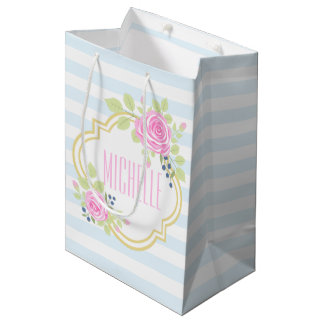 Monogram Fancy Roses Blueberry Gift Bag