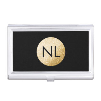 Monogram Faux Gold Glitter Black Card Holder Case For Business Cards