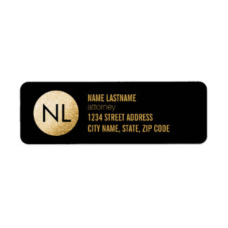 Monogram Faux Gold Glitter Black Return Label
