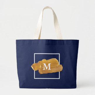 Monogram. Faux Gold Paint Blot. Large Tote Bag