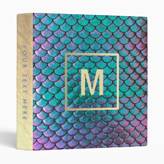 monogram faux iridescent mermaid fish scale binders