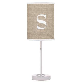 Monogram faux linen burlap rustic chic initial jut table lamp