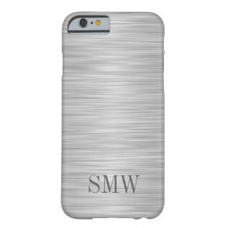 Monogram Faux Stainless Steel Cool Manly Barely There iPhone 6 Case