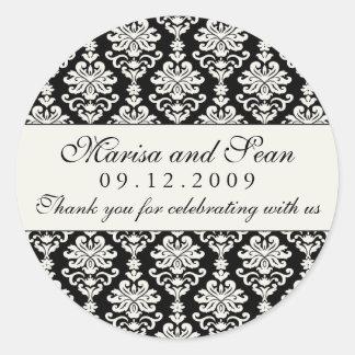 Monogram Favor Sticker | Black White Damask
