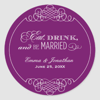 Monogram Favor Sticker Eat Drink Be Married