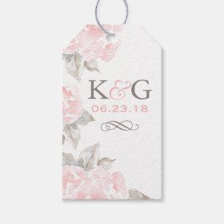 Monogram Favor Tags | Pink Watercolor Roses
