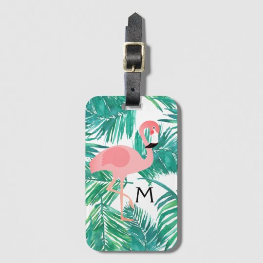 monogram flamingo art on tropical leaves luggage tag