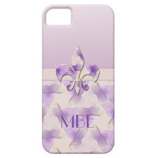 Monogram Fleur de Lis and Violets iPhone 5 Cover