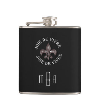 Monogram Fleur de Lis Joy of Living in French Hip Flask