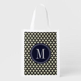 Monogram Fleur De Lis Sacs D'épicerie Réutilisables