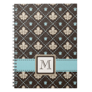 Monogram Fleur de Lis Spiral Notebook Journal Blue