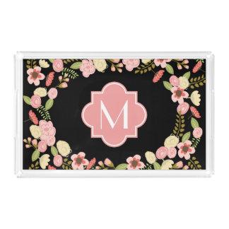 Monogram Floral Acrylic Tray