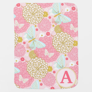 MONOGRAM FLORAL BABY GIRL BLANKET RECEIVING BLANKETS