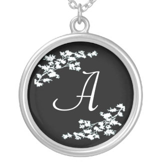 Monogram Floral Deco Silver Plated Necklace
