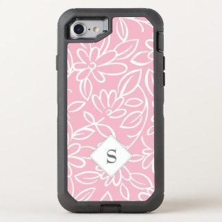 Monogram Floral pattern overlay - you choose OtterBox Defender iPhone 8/7 Case
